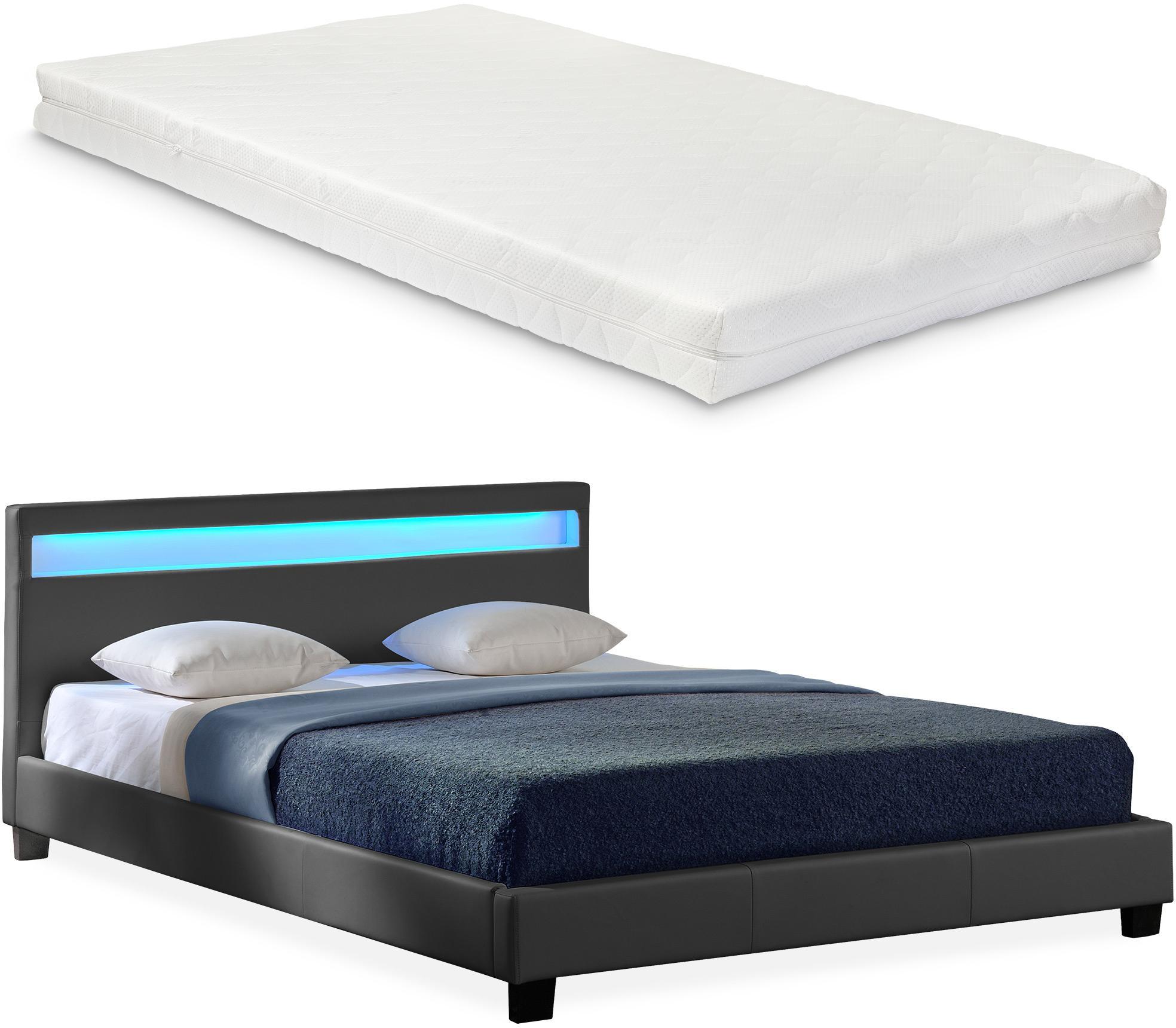 Corium® Moderná manželská posteľ s matracom 'Paris' - tmavo sivá - 180 x 200 cm
