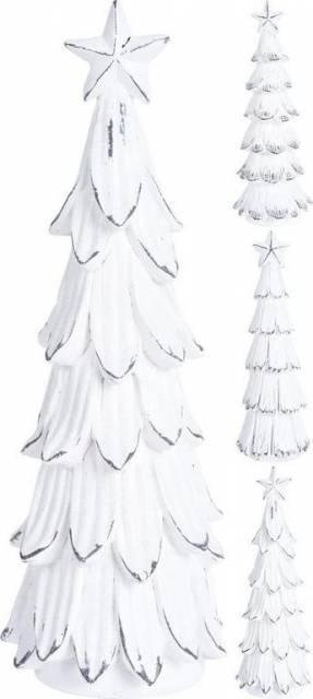 Dekorácia vianočný stromček 29 cm biely