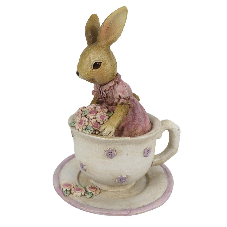 Dekorácie králičie slečny v čajovom šálke - 8 * 8 * 11 cm