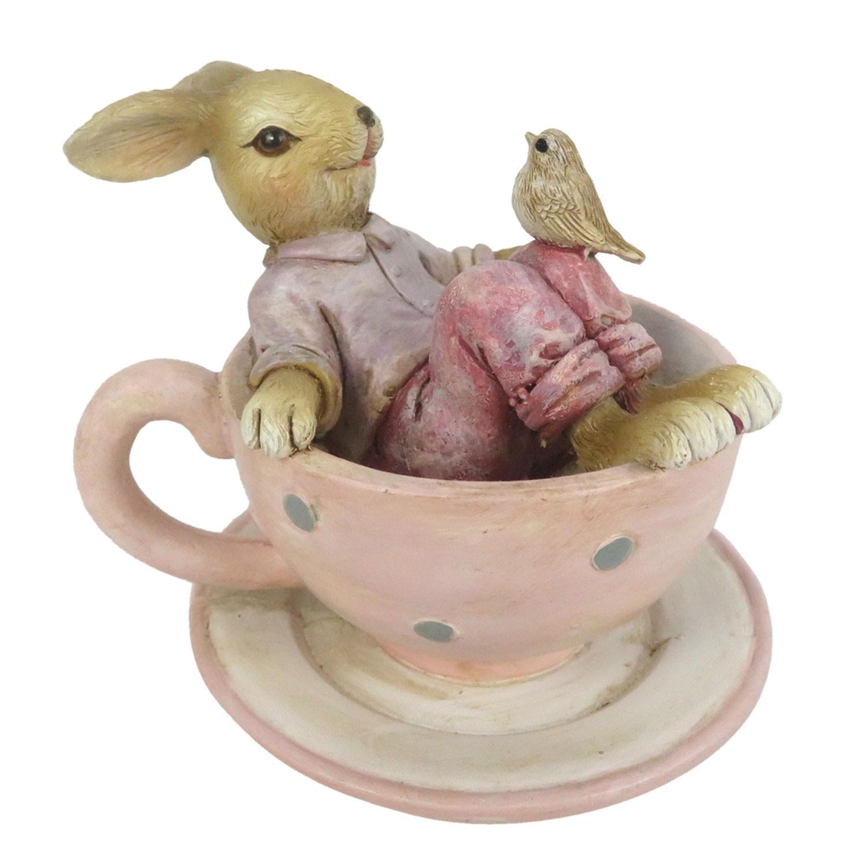 Dekorácie králika sediaci v čajovom šálke - 10 * 8 * 8 cm