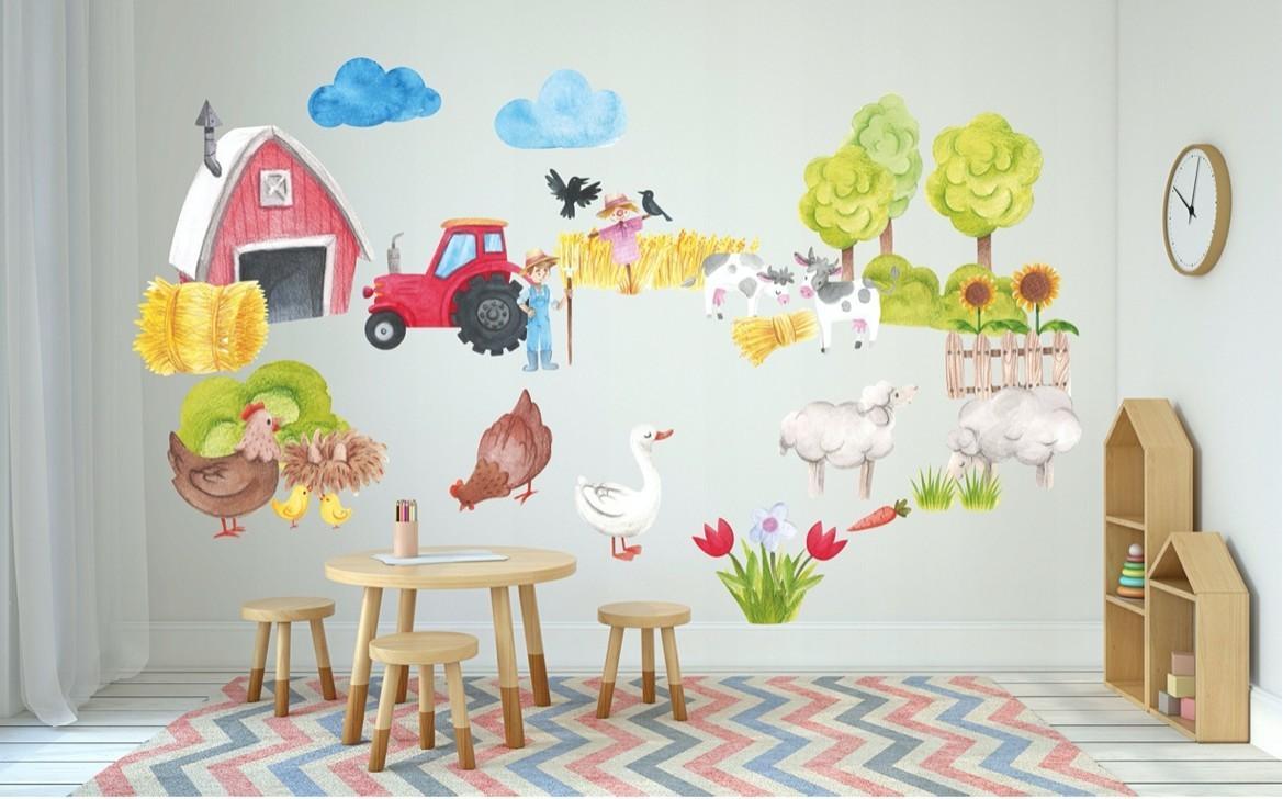 DomTextilu Dekoračná detská nálepka do detskej izby farma 100 x 200 cm 46378-217174