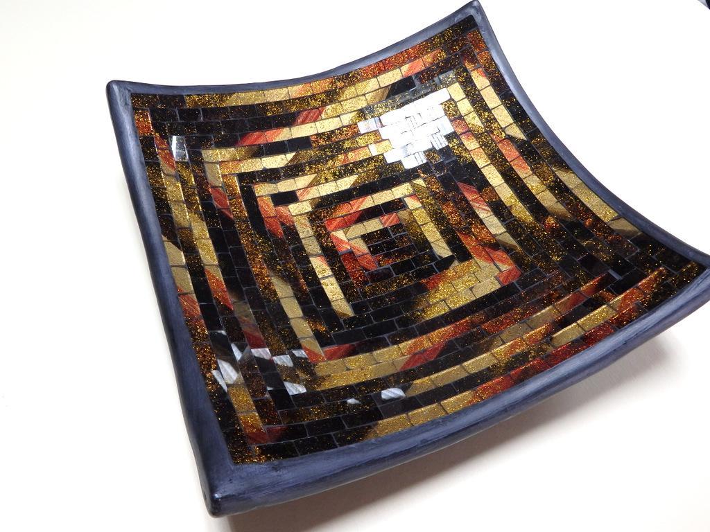 Dekoračná misa hnedá - zlatá, 30x30cm, ručná mozaika