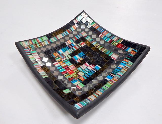 Dekoračná misa zelená / čierna, hranatá, ručná mozaika