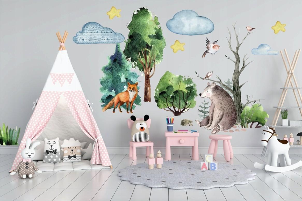 DomTextilu Dekoračná nálepka na stenu pre deti s motívom lesa a zvieratiek 100 x 200 cm 46209
