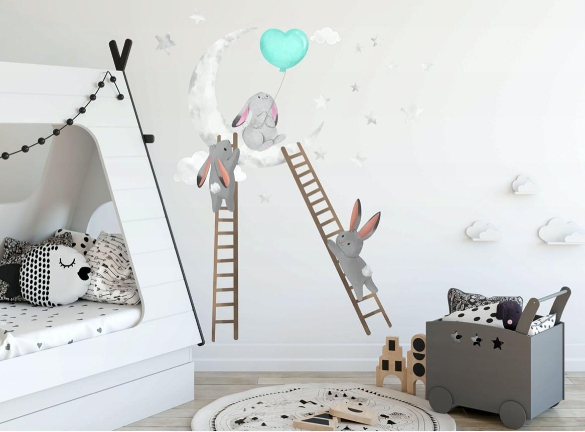 DomTextilu Dekoračná nálepka na stenu s motívom zajačikov 100 x 200 cm 46218-217111