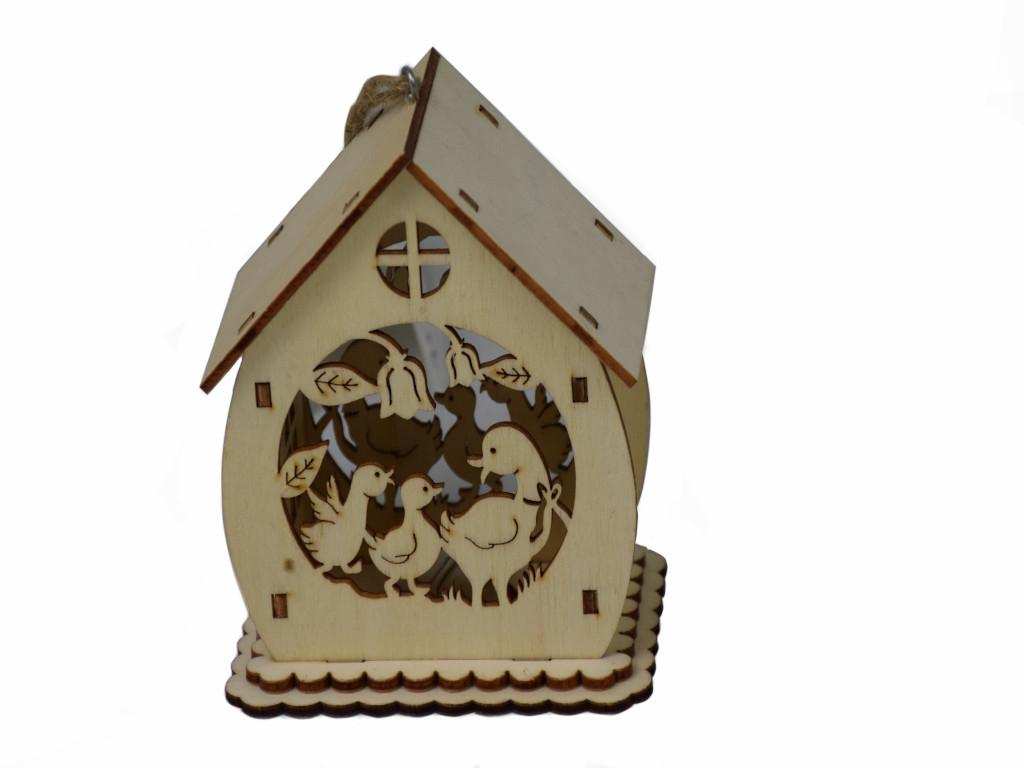 Dekoračný LED domček na zavesenie Husi