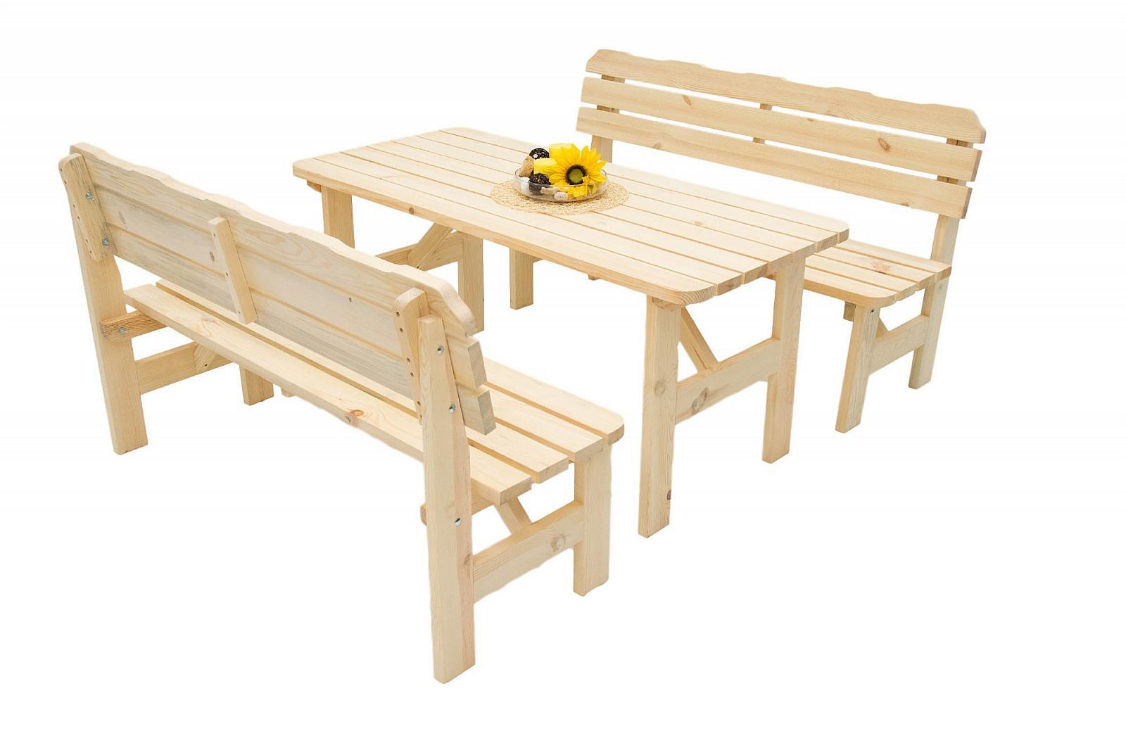 DEOKORK Masívna drevená záhradná zostava z borovice 1+2 drevo 32 mm (180 cm)