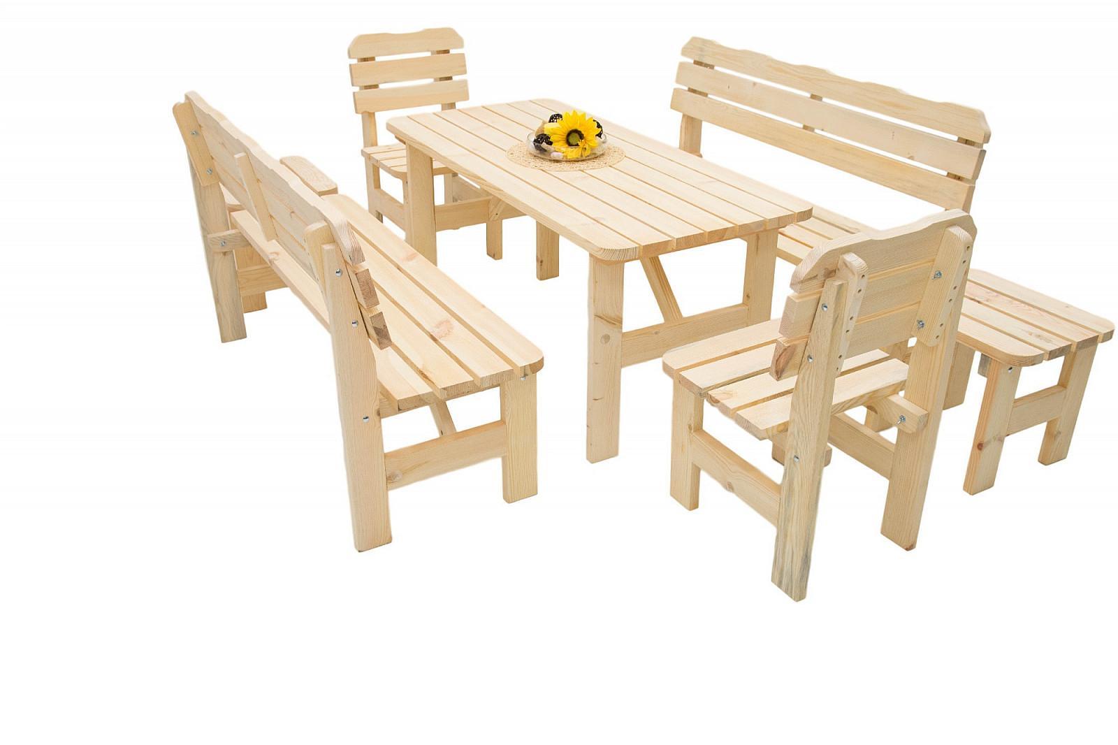 DEOKORK Masívna drevená záhradná zostava z borovice 1 6 drevo 32 mm (180 cm)