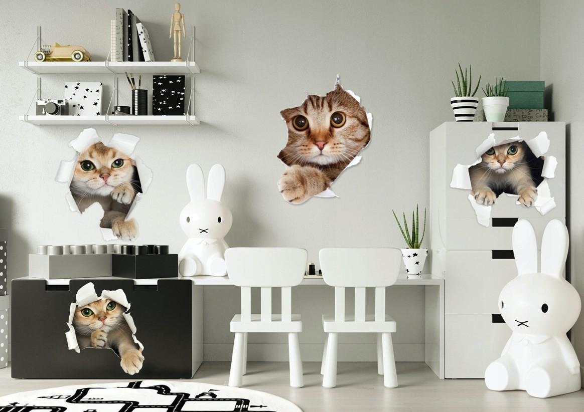 Detská nálepka na stenu s roztomilým mačiatkom