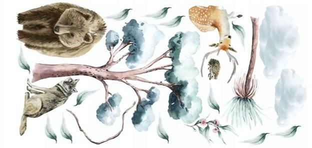 Detská nálepka na stenu zvieratá v prírode 80 x 160 cm