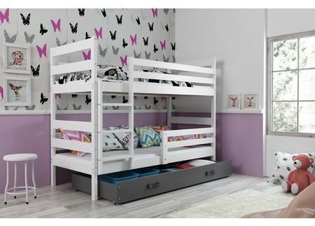 Detská poschodová posteľ ERYK 200x90 cm Šedá Bílá