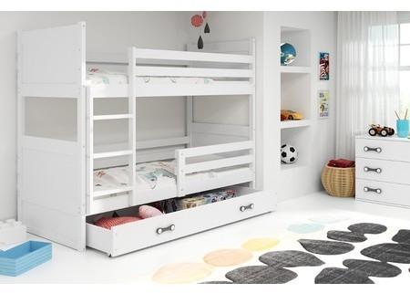Detská poschodová posteľ RICO 190x80 cm Šedá Ružové