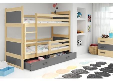 Detská poschodová posteľ RICO 200x90 cm Šedá Ružové
