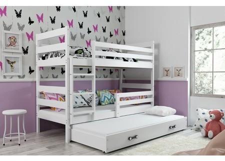 Detská poschodová posteľ s výsuvnou posteľou ERYK 160x80 cm Šedá Bílá