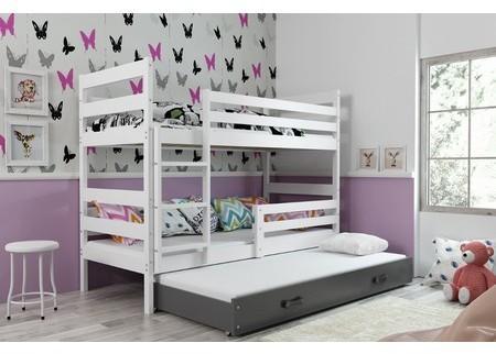 Detská poschodová posteľ s výsuvnou posteľou ERYK 200x90 cm Šedá Bílá