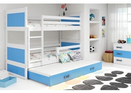 Detská poschodová posteľ s výsuvnou posteľou RICO 160x80 cm Modrá Šedá