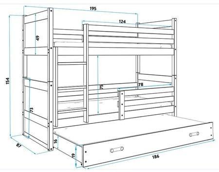 Detská poschodová posteľ s výsuvnou posteľou RICO 190x80 cm Šedá Borovice