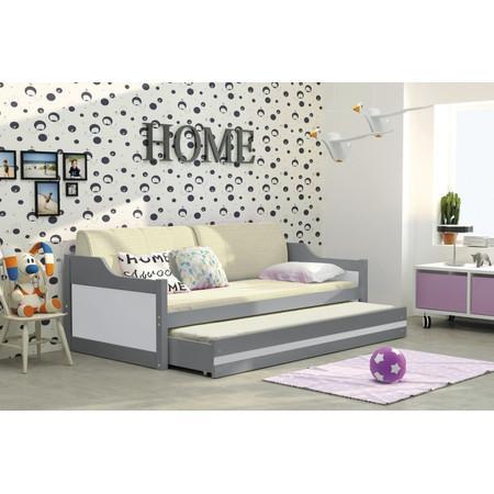 Detská posteľ alebo gauč s výsuvnou posteľou DAVID 200x90 cm Zelená Bílá