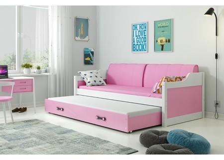 Detská posteľ alebo gauč s výsuvnou posteľou DAVID 200x90 cm Zelená Šedá