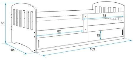 Dětská postel CLASSIC 1 160x80 cm Šedá Bílá