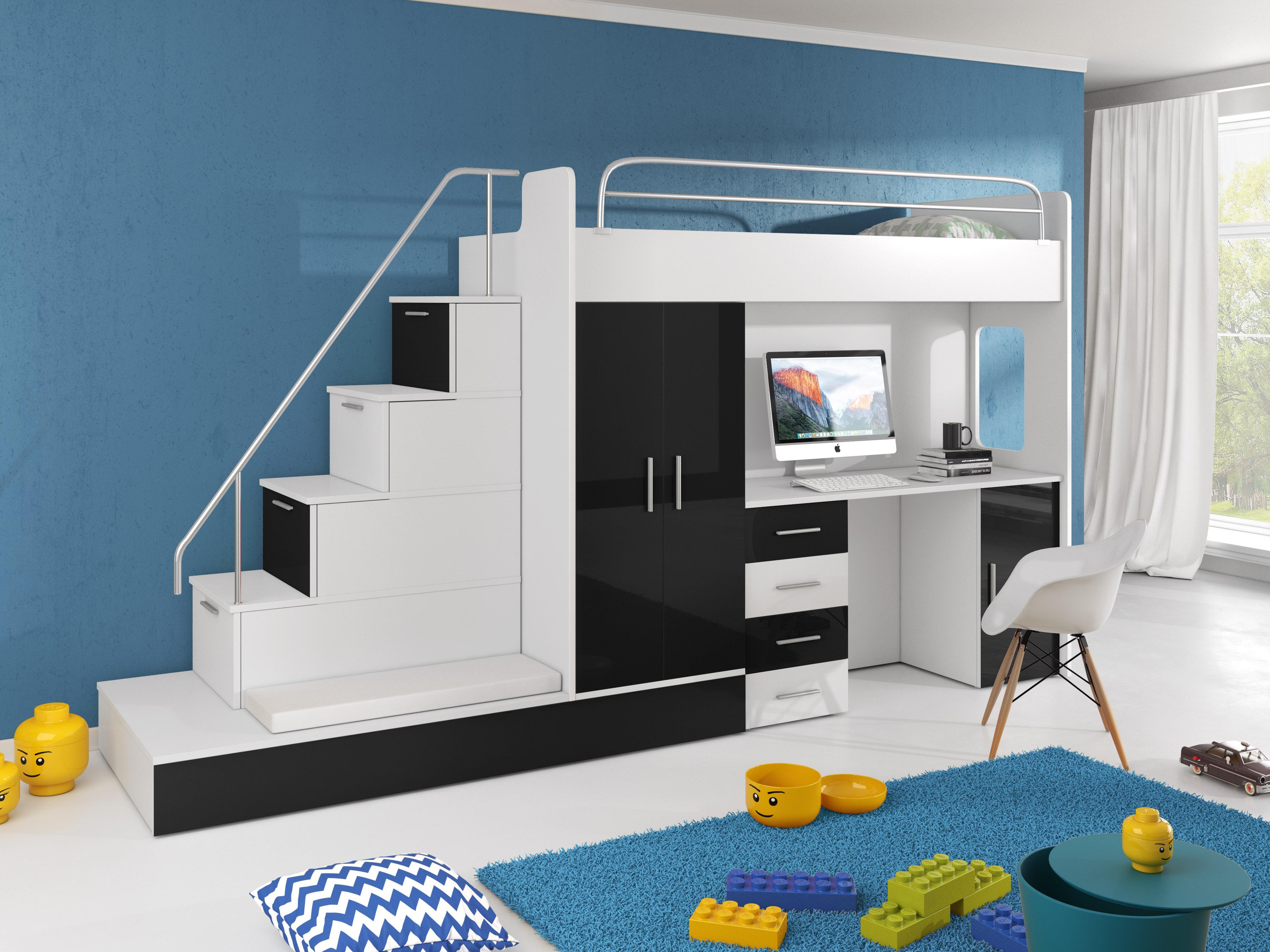 Detská posteľ Ruby V (Biela + Čierna) (s roštom a matracom)