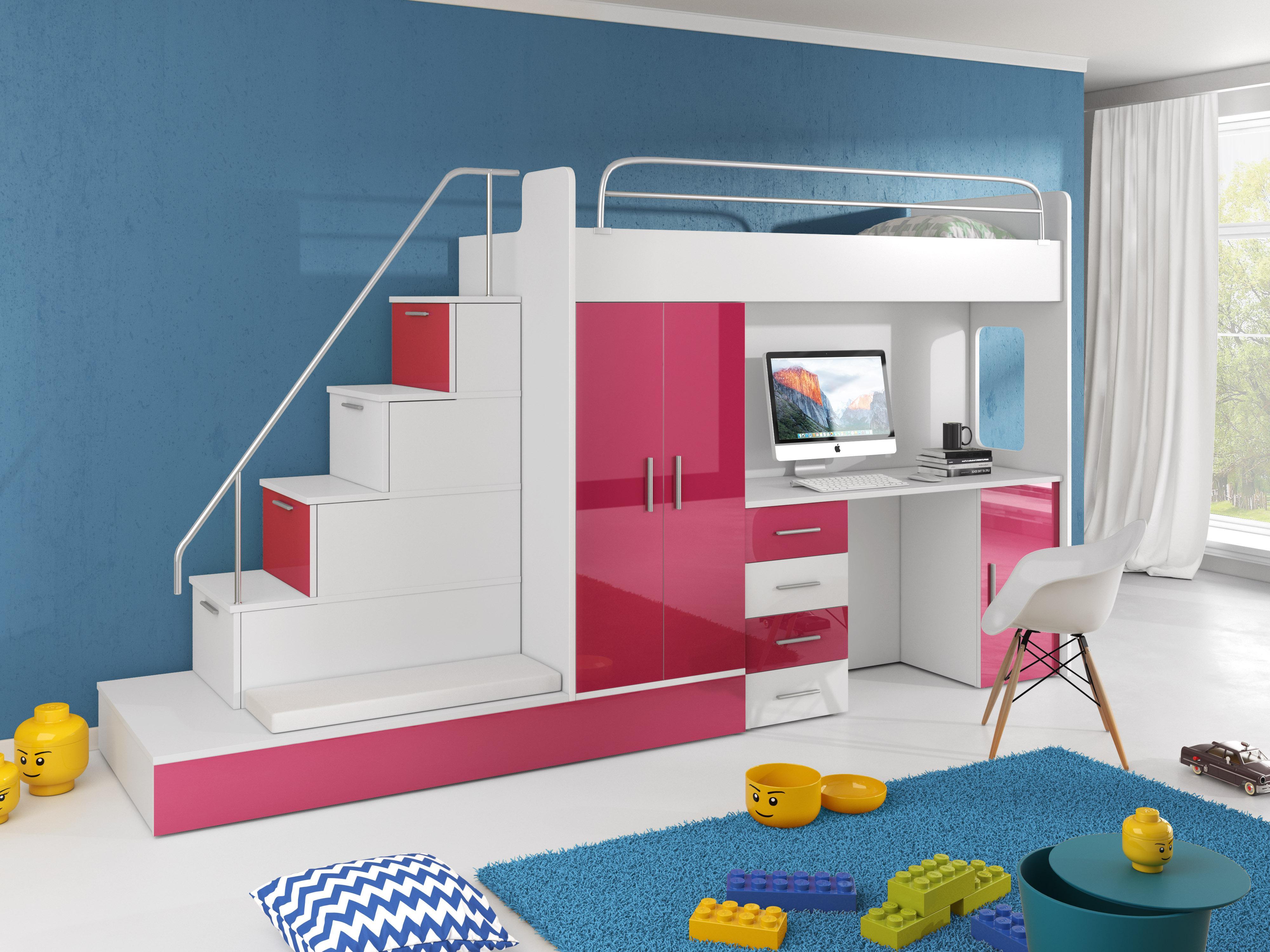 Detská posteľ Ruby V (Biela + Ružová) (s roštom a matracom)
