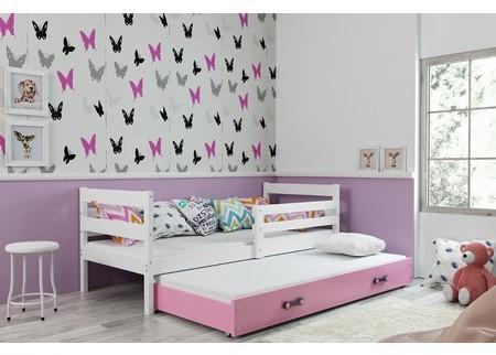Detská posteľ s výsuvnou posteľou ERYK 200x90 cm Bílá Ružové