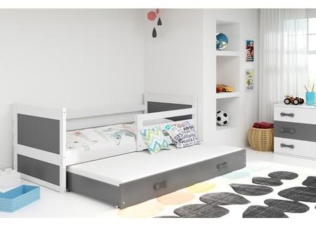 Detská posteľ s výsuvnou posteľou RICO 190x80 cm Bílá Šedá