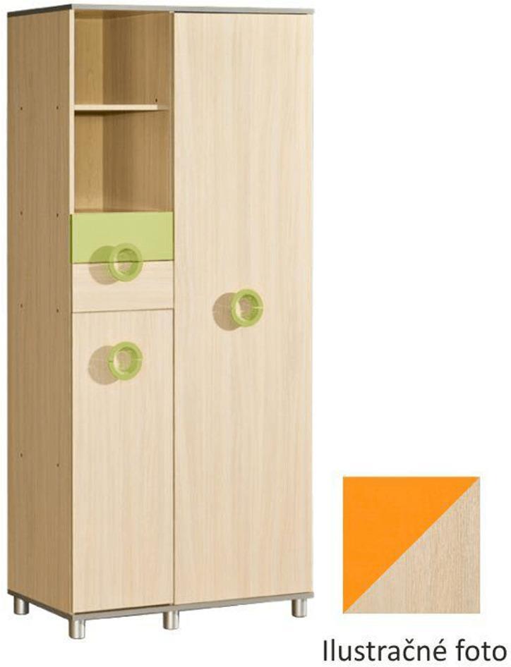 Detská skriňa, DTD, oranžová, EMO N 1