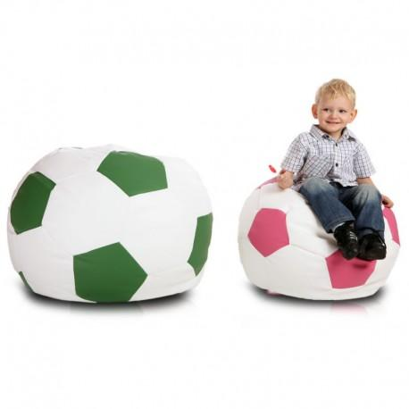 Detský MINI sedací vak ECOPUF - FOOTBALL S - ekokoža E5 - Ružová