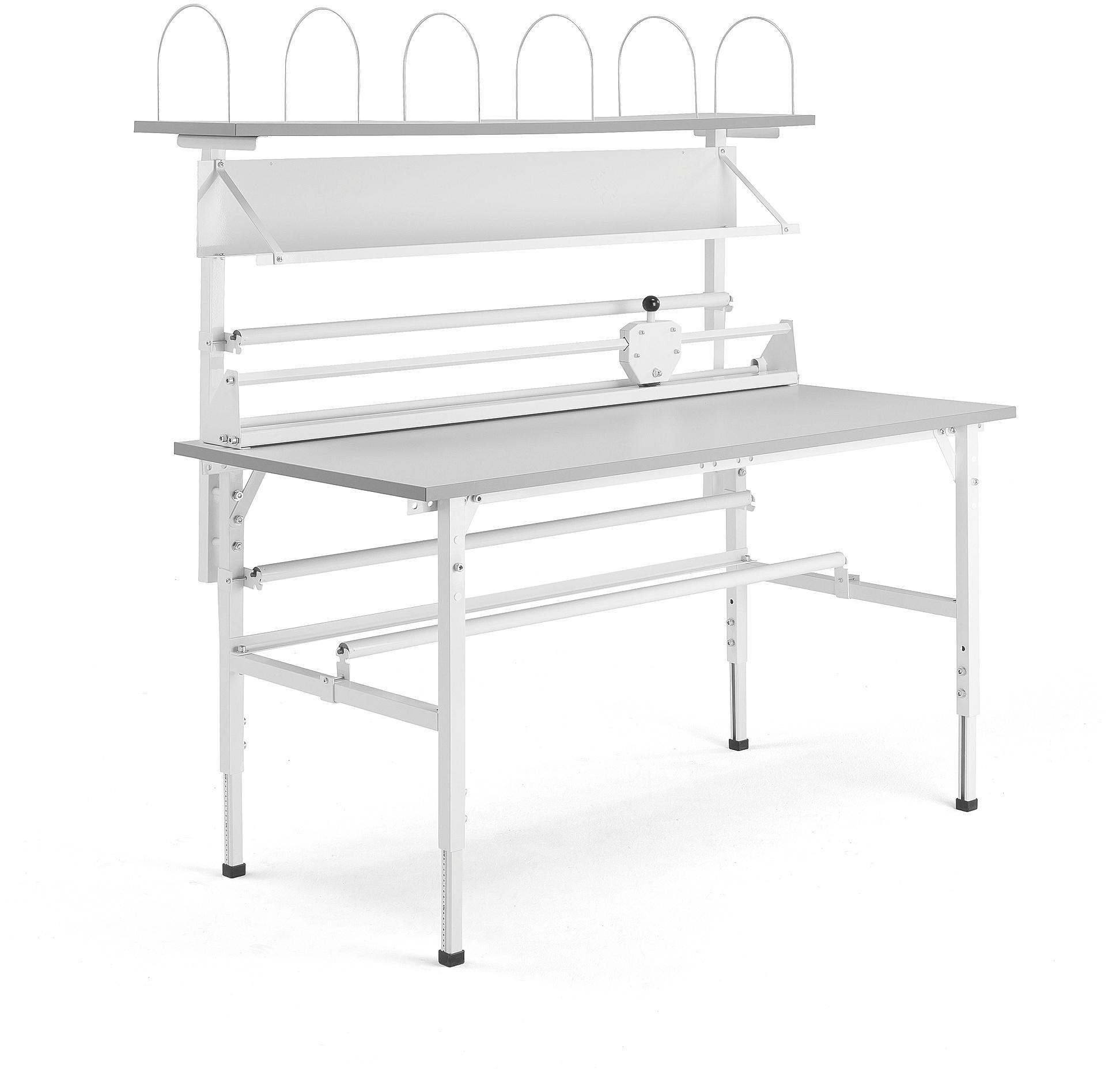 Dielenský baliaci stôl Send, s policami, 1600x800 mm, šedý