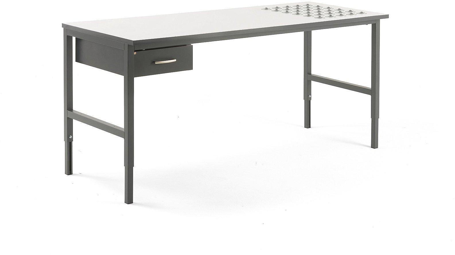 Dielenský stôl Cargo s valčekmi, 2000x750 mm, 1 zásuvka