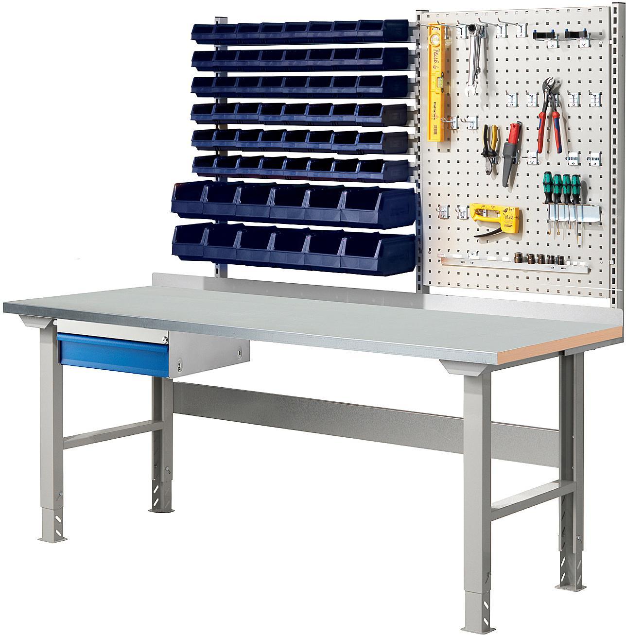 Dielenský stôl s boxmi a panelom na náradie Solid 750, 2000x800 mm, oceľ