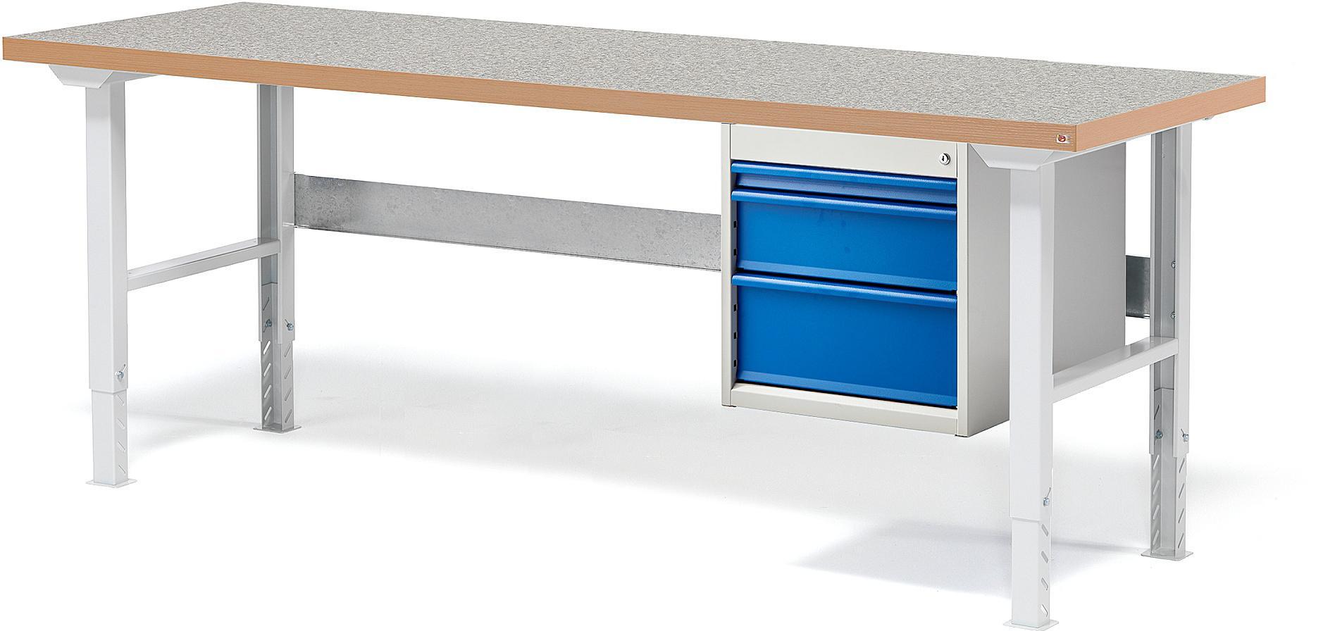 Dielenský stôl Solid s 3 zásuvkami, nosnosť 500 kg, 2000x800 mm, vinyl