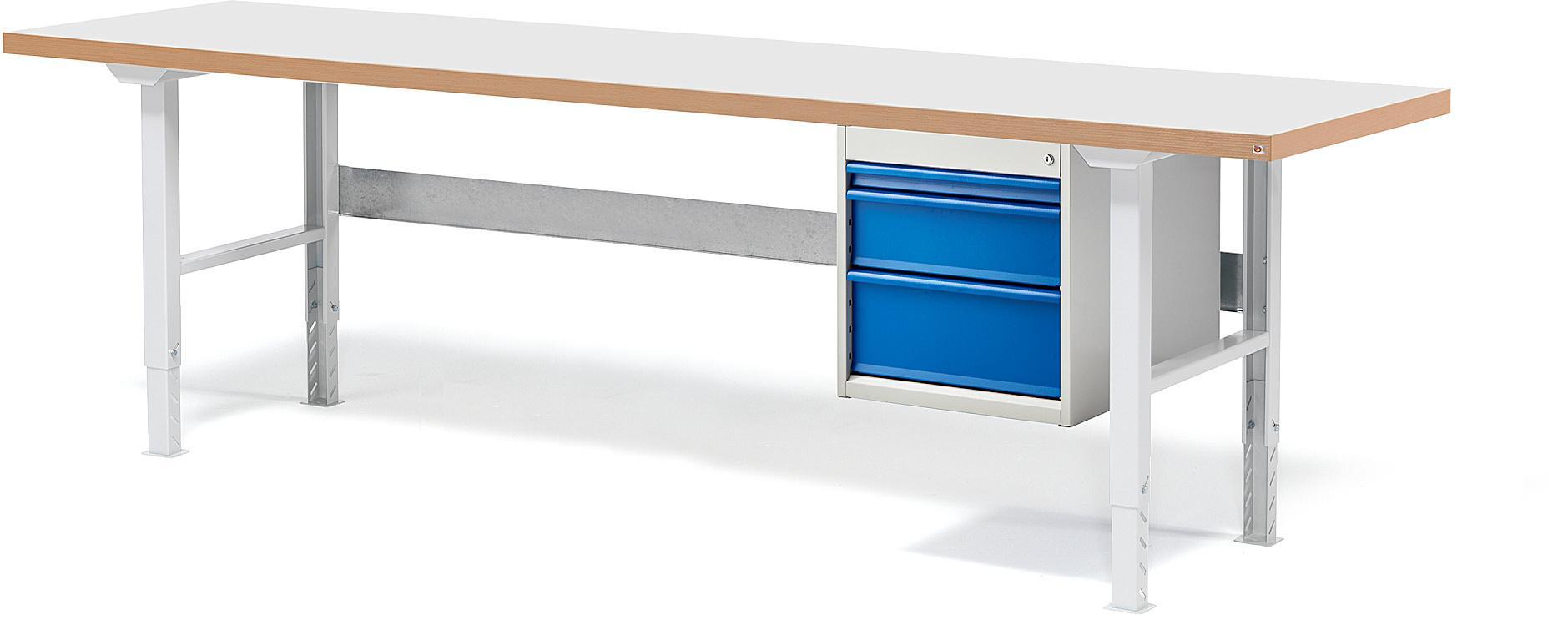 Dielenský stôl Solid s 3 zásuvkami, nosnosť 500 kg, 2500x800 mm, laminát