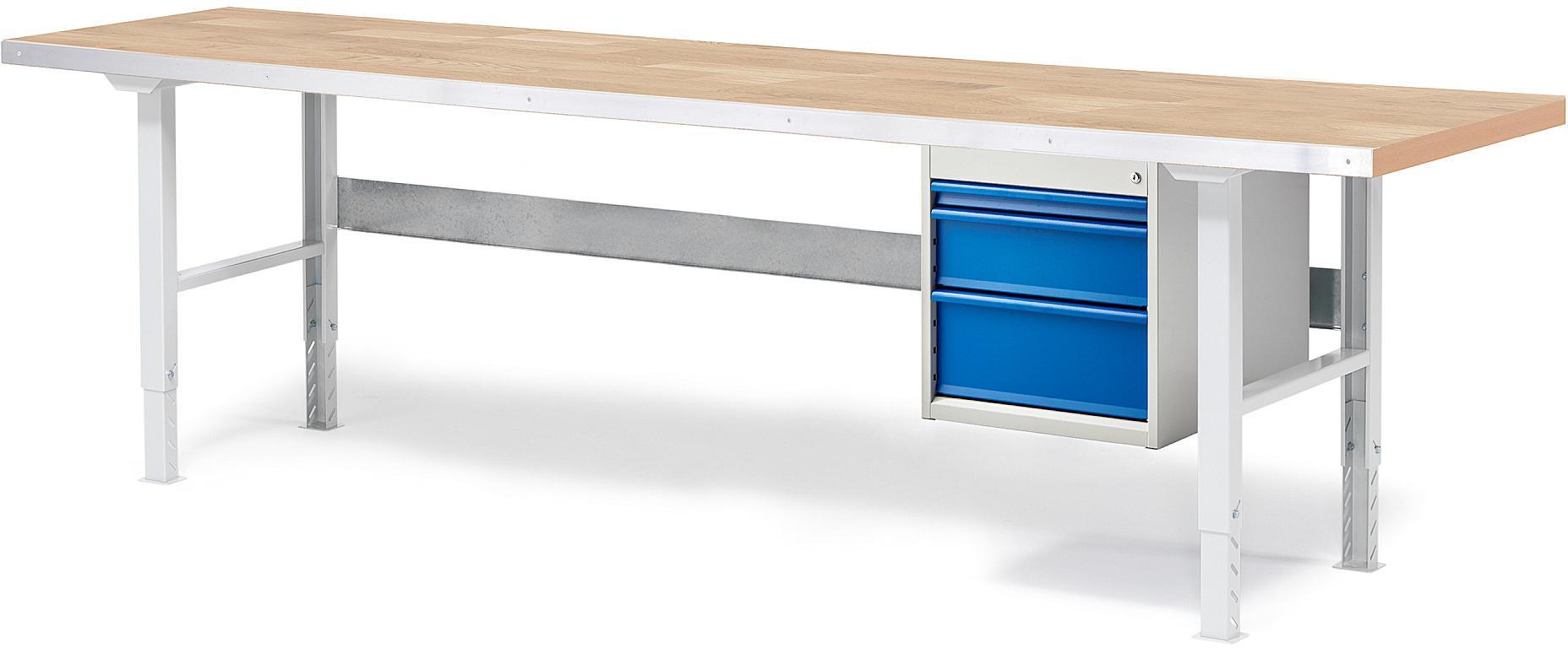 Dielenský stôl Solid s 3 zásuvkami, nosnosť 750 kg, 2500x800 mm, dub