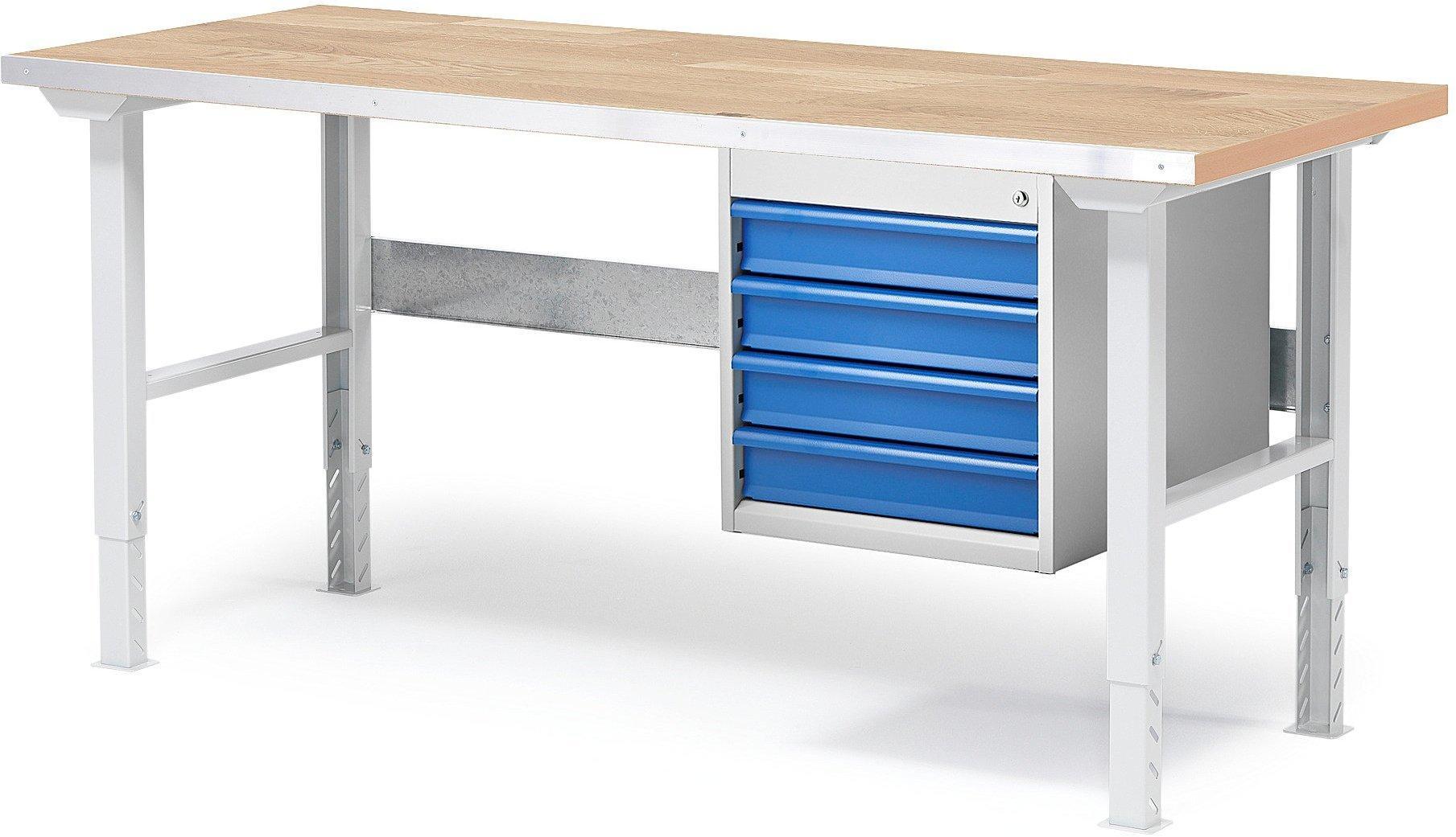 Dielenský stôl Solid so 4 zásuvkami, 1500x800 mm, nosnosť 750 kg, dub
