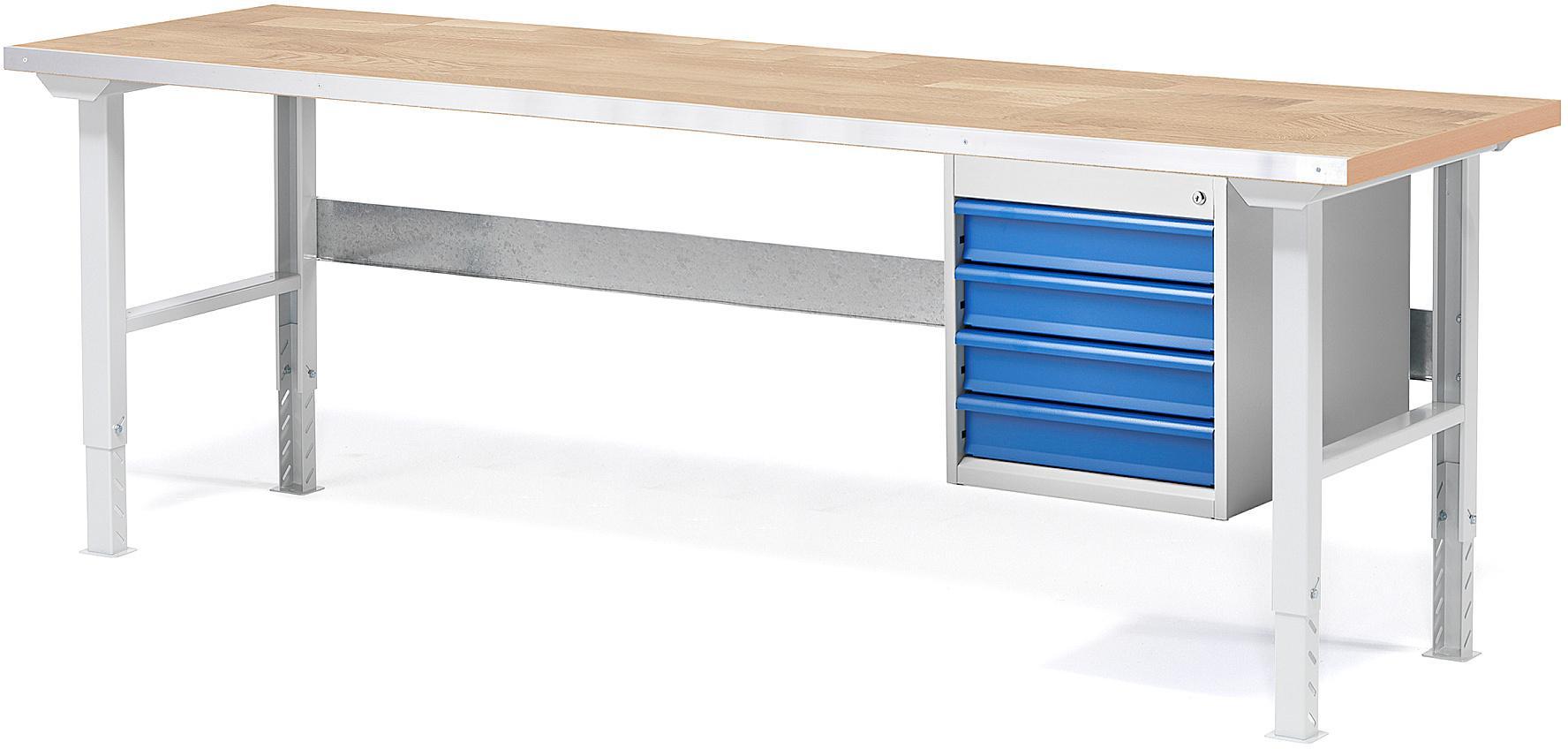 Dielenský stôl Solid so 4 zásuvkami, 2000x800 mm, nosnosť 750 kg, dub