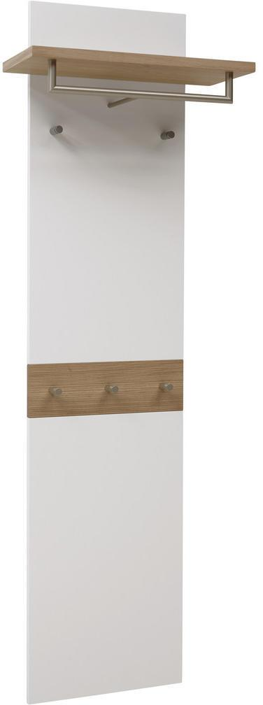 Dieter Knoll VEŠIAKOVÝ PANEL, biela, farby dubu, divý dub, 45-60/187/28 cm - biela, farby dubu