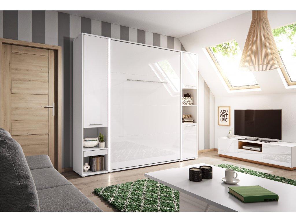 Dig-net nábytok Sklápacia posteľ Concept PRO CP-02 /120x200 Farba: CP-02p biely lesk / biela