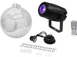Disko guľa, sada s hnacím motročekom, s LED osvetlením Eurolite Vonkajší Ø 30 cm