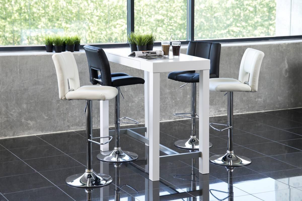 Dizajnová barová stolička Nerine, biela a chrómová - II. Trieda - RP