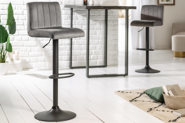 Dizajnová barová stolička Walnut sivý zamat