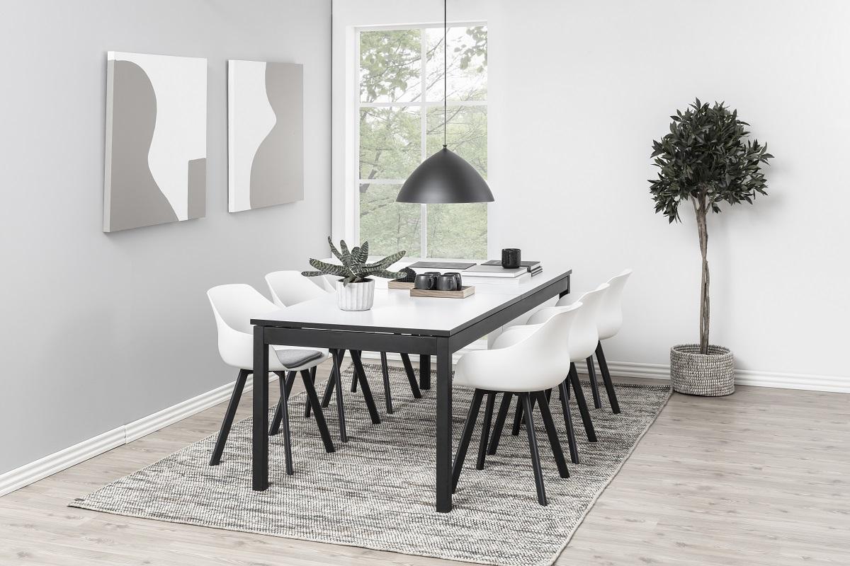 Dizajnová jedálenská stolička Alphonse, biela / čierna