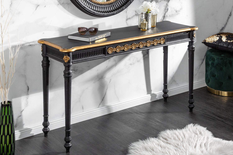Dizajnová konzola Kathleen 125 cm čierno - zlatá