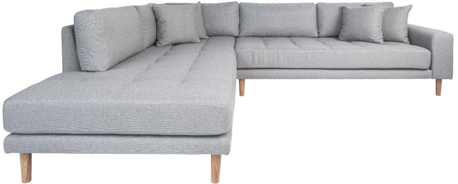 Dizajnová rohová sedačka Ansley svetlosivá - ľavá