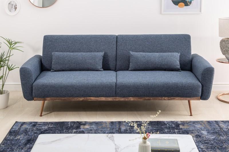 Dizajnová rozkladacia sedačka Blaine 208 cm modrá