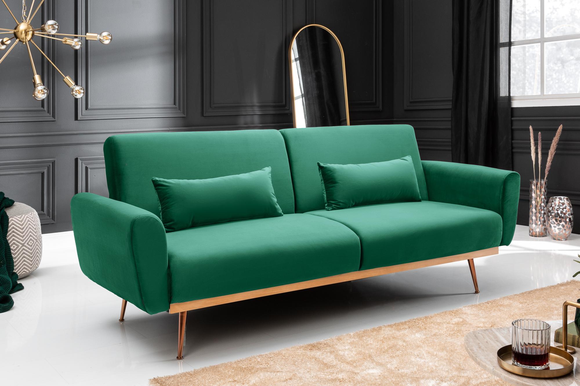 Dizajnová rozkladacia sedačka Blaine 208 cm zelený zamat