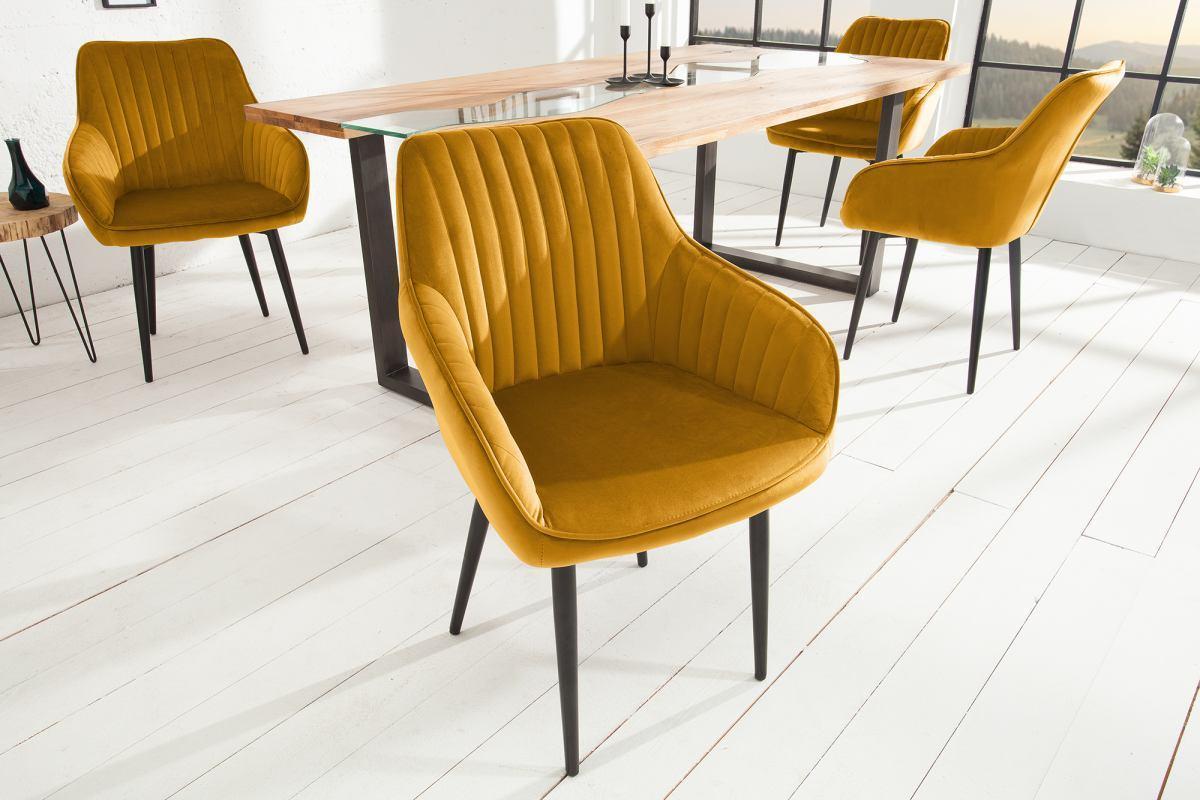 Dizajnová stolička Esmeralda, horčicová žltá