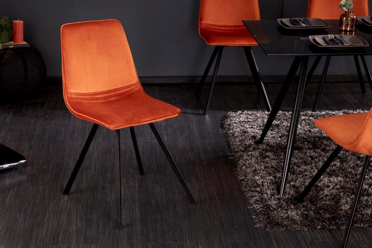 Dizajnová stolička Holland oranžový zamat